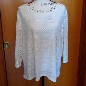 Rebecca Malone White lace top, size 1X
